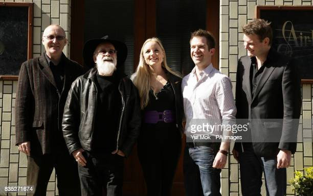 Author Terry Pratchett with Shaun McKenna West End actors Kerry Ellis and Daniel Boys and Leighton James House during a photocall to annouce the...