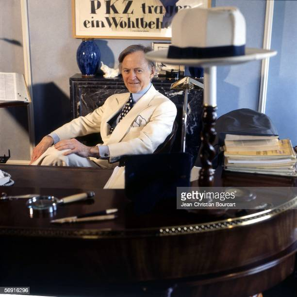 Author Tom Wolfe poses for a portrait in his home on March 19 1997 in New York City