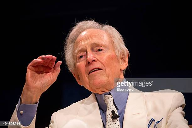 Author Tom Wolfe speaks during a postscreening discussion at the 10th Annual FOLCS Film Festival in New York US on Tuesday Oct 27 2015 The FOLCS Film...