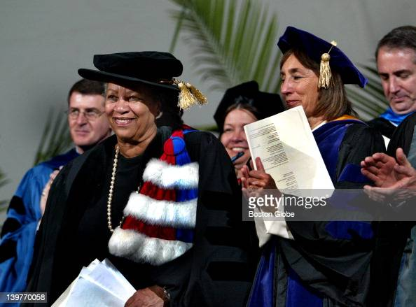Author Toni Morrison receives a standing ovation following her commencement address to Wellesley College graduates
