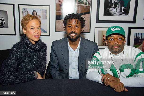 Author Tonya Lewis Lee illustrator Sean Qualls and Spike Lee promote 'Giant Steps to Change the World' at PowerHouse Arena on January 23 2011 in the...