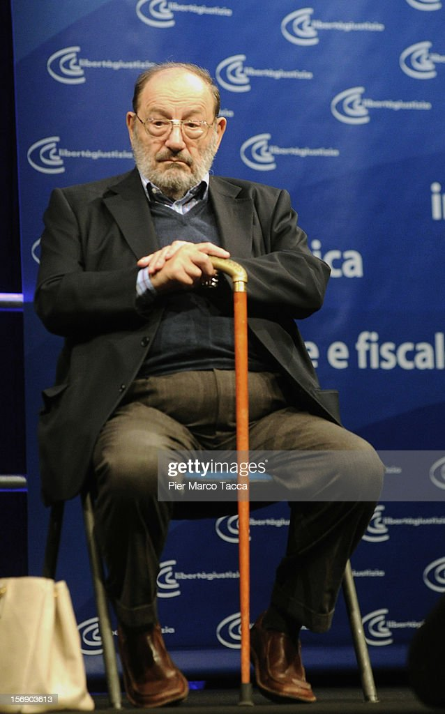 Author Umberto Eco attends 'Liberta e Giustizia' Meeting on November 24, 2012 in Milan, Italy. Cultural association Liberta e Giustizia (Freedom and Justice) was founded in 2002 by well-known cultural figures and aims to 'be the missing link between the best ferment of society and the official space policy'.