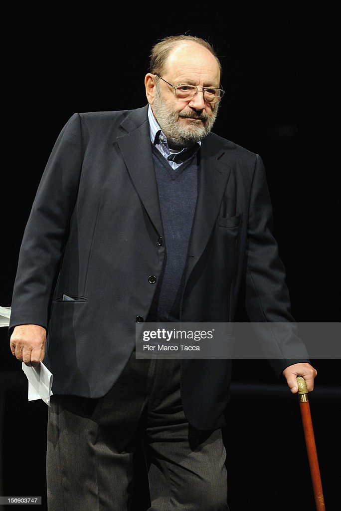 Author <a gi-track='captionPersonalityLinkClicked' href=/galleries/search?phrase=Umberto+Eco&family=editorial&specificpeople=822903 ng-click='$event.stopPropagation()'>Umberto Eco</a> attends 'Liberta e Giustizia' Meeting on November 24, 2012 in Milan, Italy. Cultural association Liberta e Giustizia (Freedom and Justice) was founded in 2002 by well-known cultural figures and aims to 'be the missing link between the best ferment of society and the official space policy'.