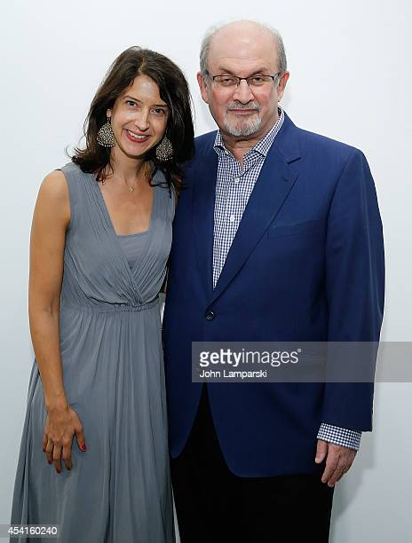 Author Vanessa Manko and Salman Rushdie attends 'The Invention Of Exile' Book Launch at PowerHouse Arena on August 25 2014 in the Brooklyn borough of...