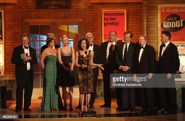Author Yasmina Reza accepts an award as cast members Marcia Gay Harden Hope Davis James Gandolfini and Jeff Daniels look on on stage during the 63rd...