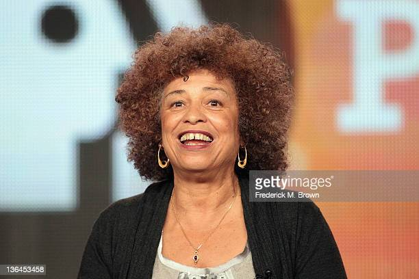 Author/activist Angela Davis speaks onstage during the Independent Lens Examines Black History Month panel during the PBS portion of the 2012 Winter...