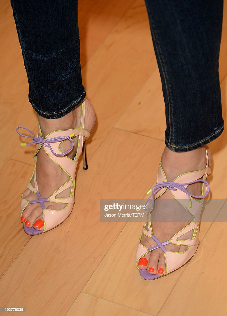 Author/actress Jessica Alba (shoe detail) attends The Honest Company and The Moms Launch of Jessica Alba's New Book The Honest Life at the Mondrian LA on March 15, 2013 in West Hollywood, California.