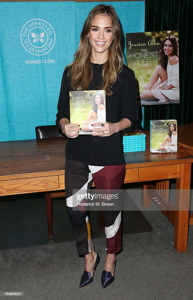 Author/actress <a gi-track='captionPersonalityLinkClicked' href=/galleries/search?phrase=Jessica+Alba&family=editorial&specificpeople=201811 ng-click='$event.stopPropagation()'>Jessica Alba</a> presents her new book during Book Signing For 'The Honest Life' at Vroman's Bookstore on March 16, 2013 in Pasadena, California.