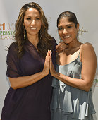 Author/celebrity yogiÊRainbeau Mars and actress Anisha Adusumilli attends Rainbeau Mars E Book Brunch Celebration on July 22 2016 in Beverly Hills...