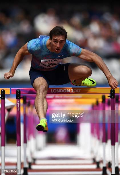 Authorised Neutral Athlete Sergey Shubenkov competes in the heats of the men's 110m hurdles athletics event at the 2017 IAAF World Championships at...