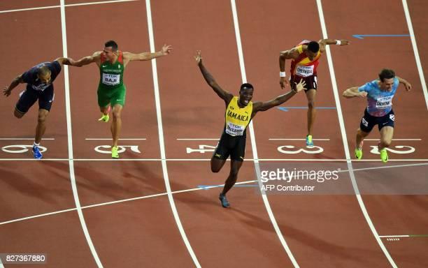 TOPSHOT Authorised Neutral Athlete Sergey Shubenkov Spain's Orlando Ortega Jamaica's Omar Mcleod Hungary's Balázs Baji France's Garfield Darien cross...