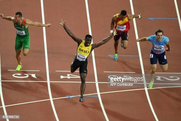 Authorised Neutral Athlete Sergey Shubenkov Spain's Orlando Ortega Jamaica's Omar Mcleod Hungary's Balázs Baji cross the finish line in the final of...