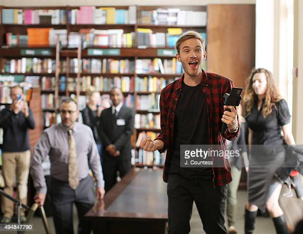 Author/media personality PewDiePie arrives at Barnes Noble Union Square for a book signing for his book 'This Book Loves You' at Barnes Noble Union...