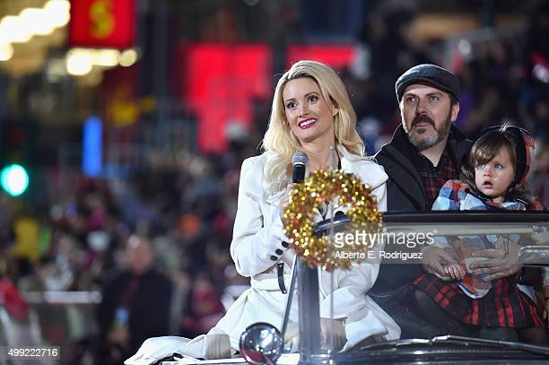 Author/model Holly Madison producer Pasquale Rotella and daughter Rainbow Aurora Rotella attend 2015 Hollywood Christmas Parade on November 29 2015...