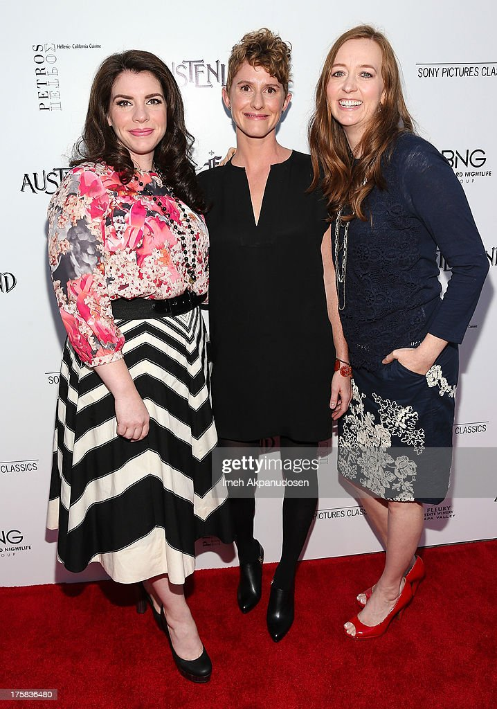 Author/producer Stephenie Meyer, director Jerusha Hess, and author Shannon Hale attend the premiere of Sony Pictures Classics' 'Austenland' at ArcLight Hollywood on August 8, 2013 in Hollywood, California.