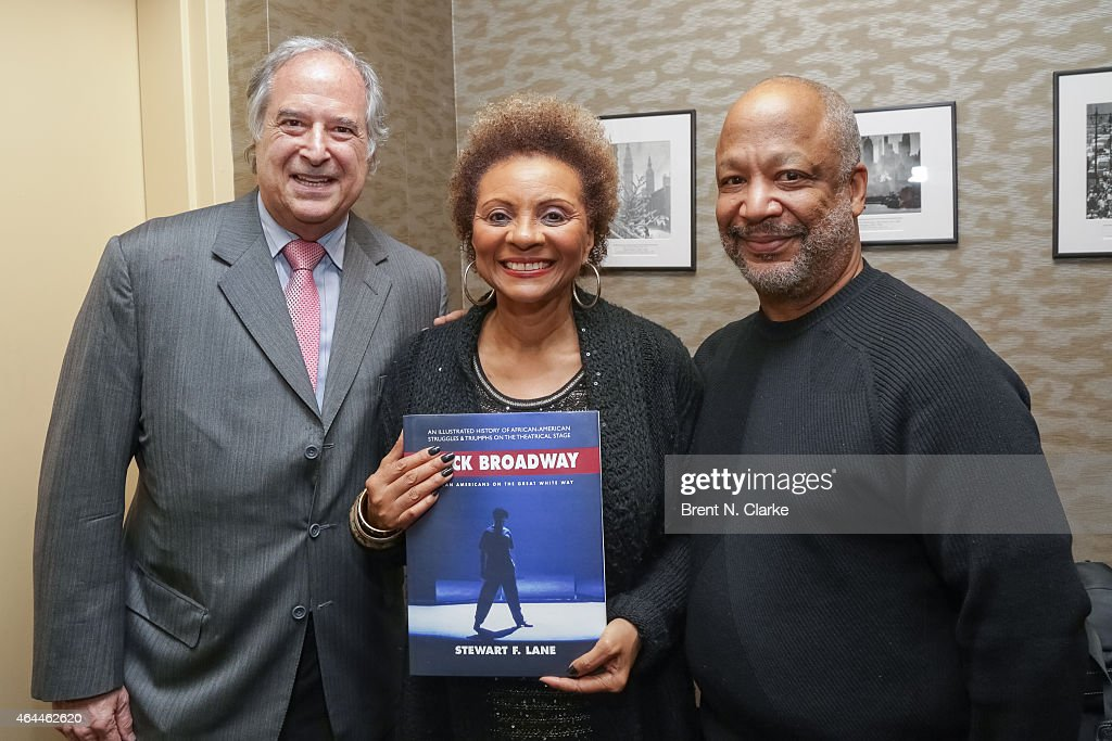 Author/producer Stewart Lane actress Leslie Uggams and Director Sheldon Epps pose with Mr Lane's new book 'Black Broadway African Americans On The...
