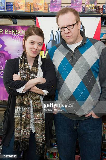 Authors Amber Benson and Anton Strout promote their new books at Midtown Comics Downtown on March 5 2011 in New York City