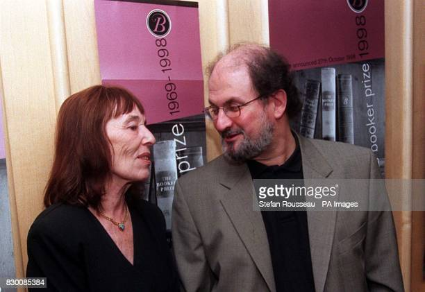 Authors Beryl Bainbridge and Salman Rushdie at the British Library in London today to help mark the thirtieth anniversary of The Booker Prize for...