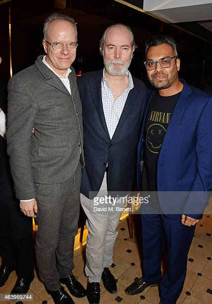 Authors Hans Ulrich Obrist Douglas Coupland and Shumon Basar attend a dinner hosted by Caroline Issa to celebrate the launch of new book 'The Age Of...