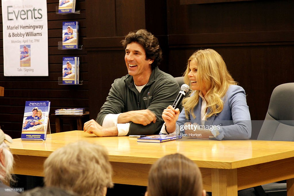 Authors Mariel Hemingway and Bobby Williams sign copies of their book 'The Willing Way' at Barnes & Noble bookstore at The Grove on April 1, 2013 in Los Angeles, California.