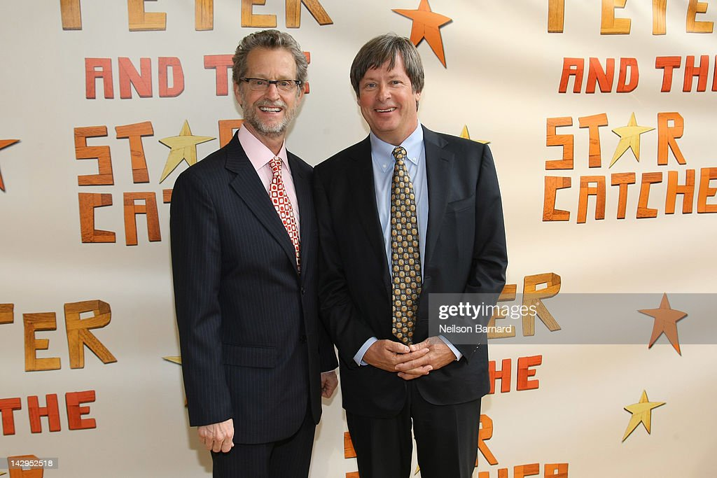 Authors Ridley Pearson (L) and <a gi-track='captionPersonalityLinkClicked' href=/galleries/search?phrase=Dave+Barry&family=editorial&specificpeople=663731 ng-click='$event.stopPropagation()'>Dave Barry</a> attend the opening night of 'Peter And The Starcatcher' on Broadway at The Brooks Atkinson Theatre on April 15, 2012 in New York City.