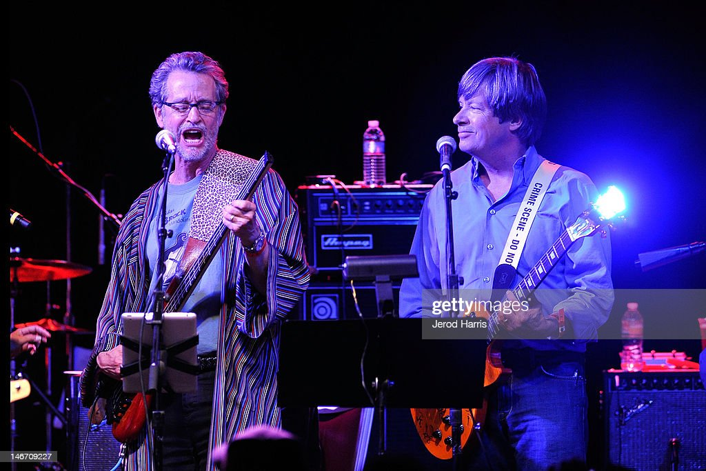 Authors Ridley Pearson and <a gi-track='captionPersonalityLinkClicked' href=/galleries/search?phrase=Dave+Barry&family=editorial&specificpeople=663731 ng-click='$event.stopPropagation()'>Dave Barry</a> perform with the Rock Bottom Remainders at El Rey Theatre on June 22, 2012 in Los Angeles, California.