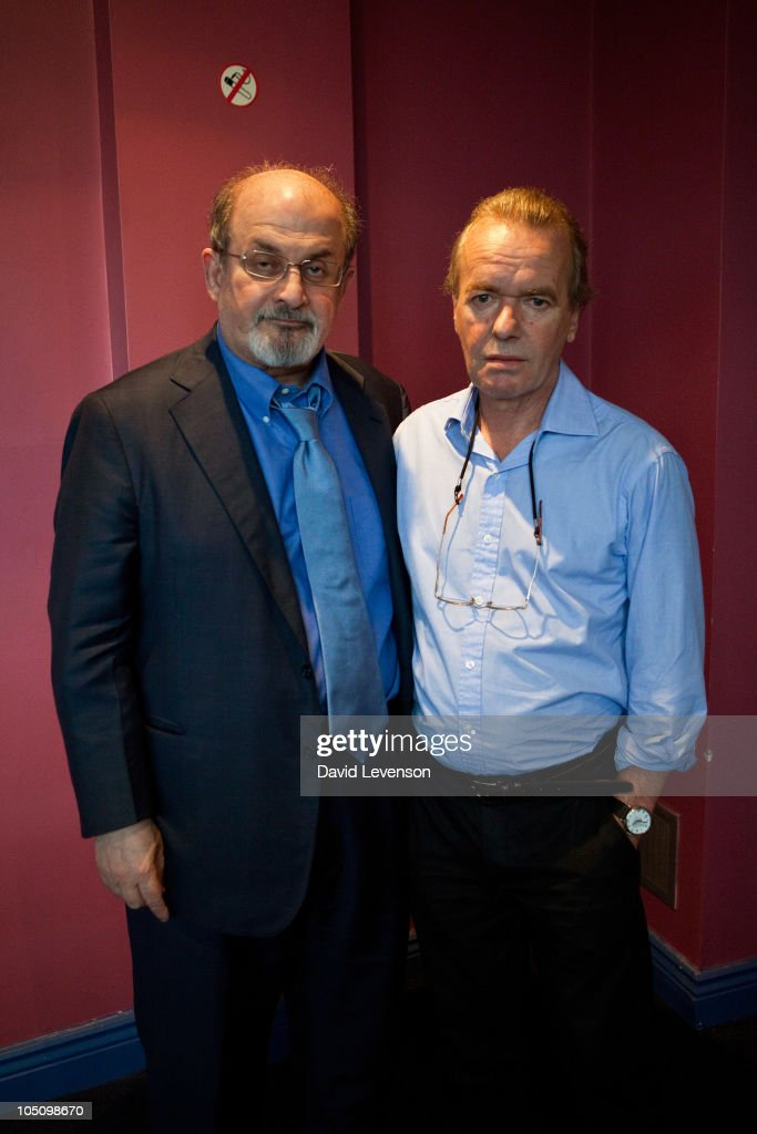 Authors <a gi-track='captionPersonalityLinkClicked' href=/galleries/search?phrase=Salman+Rushdie&family=editorial&specificpeople=203293 ng-click='$event.stopPropagation()'>Salman Rushdie</a> (L) and <a gi-track='captionPersonalityLinkClicked' href=/galleries/search?phrase=Martin+Amis&family=editorial&specificpeople=221612 ng-click='$event.stopPropagation()'>Martin Amis</a> pose together at the Cheltenham Literature Festival on October 9, 2010 in Cheltenham, England.