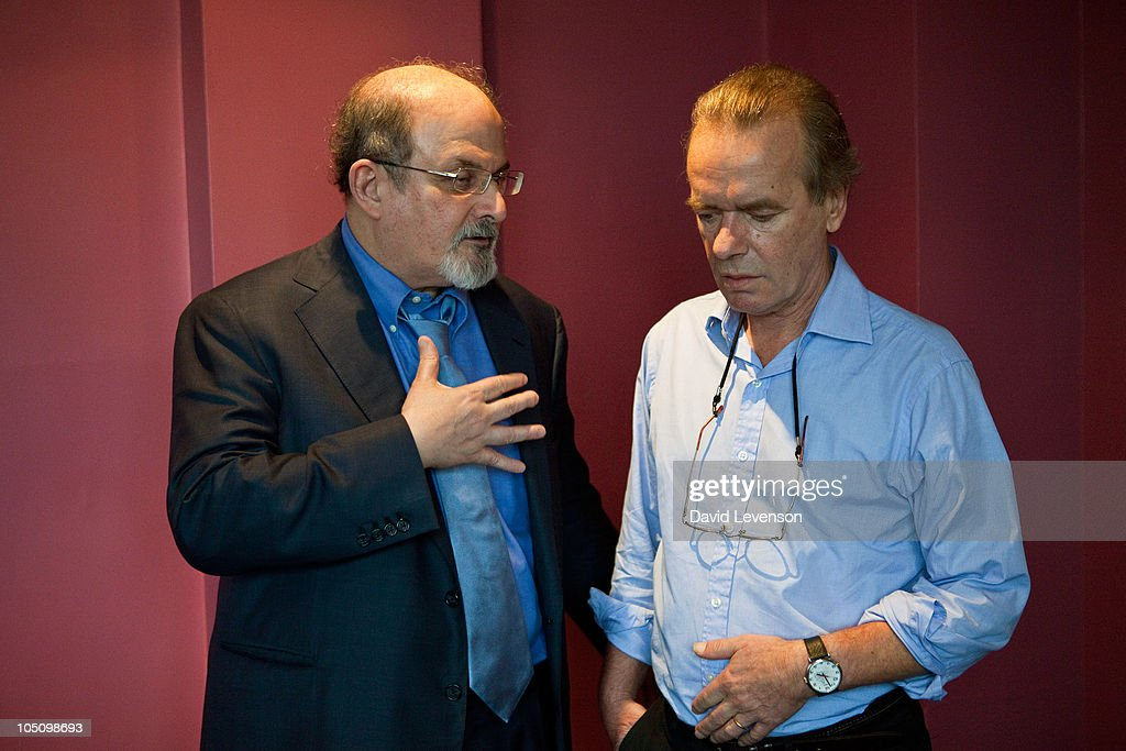 Authors <a gi-track='captionPersonalityLinkClicked' href=/galleries/search?phrase=Salman+Rushdie&family=editorial&specificpeople=203293 ng-click='$event.stopPropagation()'>Salman Rushdie</a> (L) and <a gi-track='captionPersonalityLinkClicked' href=/galleries/search?phrase=Martin+Amis&family=editorial&specificpeople=221612 ng-click='$event.stopPropagation()'>Martin Amis</a> share a conversation at the Cheltenham Literature Festival on October 9, 2010 in Cheltenham, England.