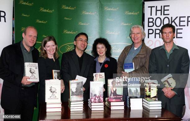 Authors shortlisted for the Booker Prize 2000 at Hatchards bookshop in Piccadilly central London Andrew Kneale Trezza Azzopardi Kazuo Ishiguro...