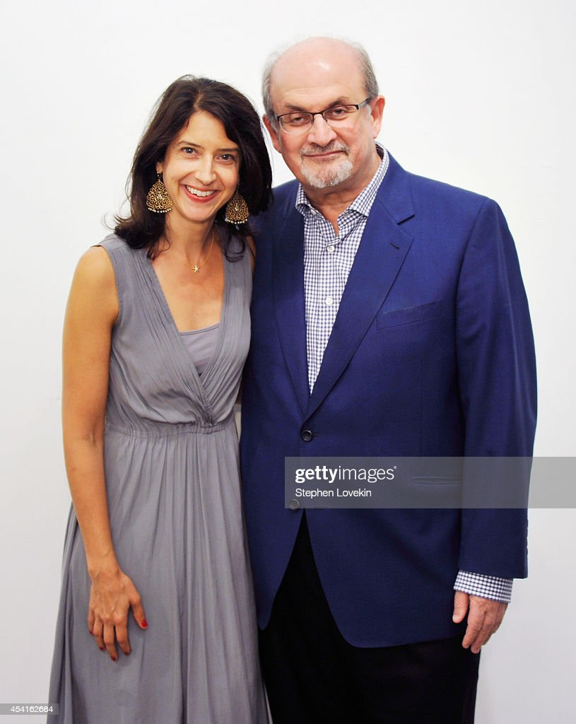 Authors Vanessa Manko and Salman Rushdie attend 'The Invention Of Exile' Book Launch at PowerHouse Arena on August 25 2014 in the Brooklyn borough of...