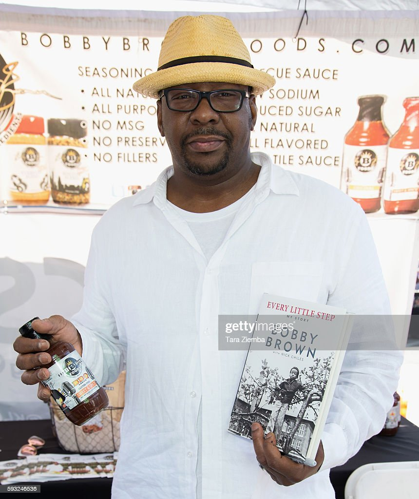 Author/singer Bobby Brown poses for a photo at the Leimert Park Village Book Fair at Baldwin Hills Crenshaw Plaza on August 20, 2016 in Los Angeles, California.