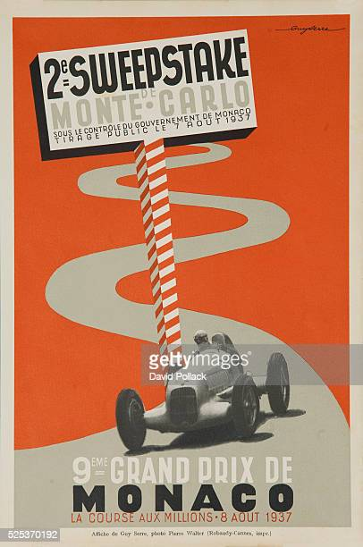 Auto race poster showing speeding open wheeled race car under sign for Monter Carlo Sweepstakes