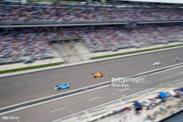 101st Indianapolis 500 Aerial view of Fernando Alonso in action during race at Indianapolis Motor Speedway Verizon IndyCar Series Indianapolis IN...