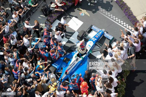 101st Indianapolis 500 Aerial view of Takuma Sato and his team victorious in Victory Lane after winning race at Indianapolis Motor Speedway Verizon...