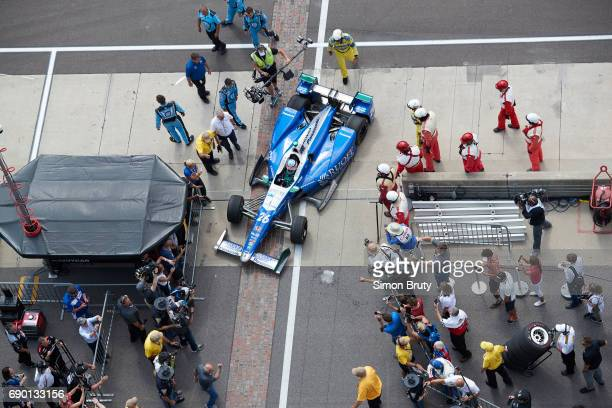 101st Indianapolis 500 Aerial view of Takuma Sato with crew members during pit stop of race at Indianapolis Motor Speedway Verizon IndyCar Series...