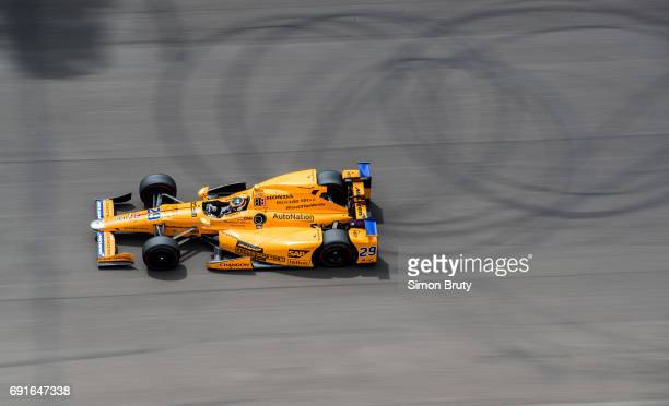 101st Indianapolis 500 Fernando Alonso in action during race at Indianapolis Motor Speedway Verizon IndyCar Series Indianapolis IN CREDIT Simon Bruty