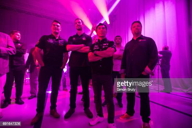 101st Indianapolis 500 Preview Andretti Autosport Team drivers Colton Herta Fernando Alonso Takuma Sato and Michael Andretti before race at...