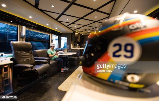 101st Indianapolis 500 Preview Fernando Alonso on couch in his trailer before practice session at Indianapolis Motor Speedway Indianapolis IN CREDIT...
