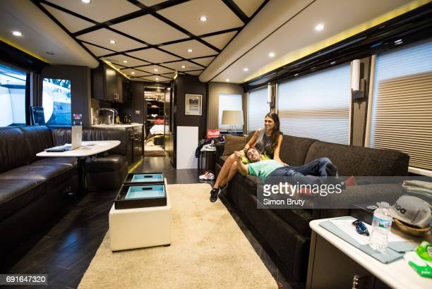 101st Indianapolis 500 Preview Fernando Alonso with girlfriend Linda Morselli on couch in his trailer before practice session at Indianapolis Motor...