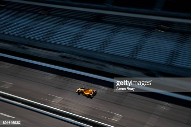 101st Indianapolis 500 Preview Overall view of Fernando Alonso in action during practice session at Indianapolis Motor Speedway Indianapolis IN...