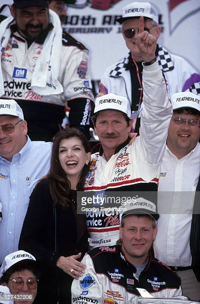 40th NASCAR Daytona 500 Dale Earnhardt and wife Teresa victorious after winning race at Daytona International Speedway Daytona FL CREDIT George...