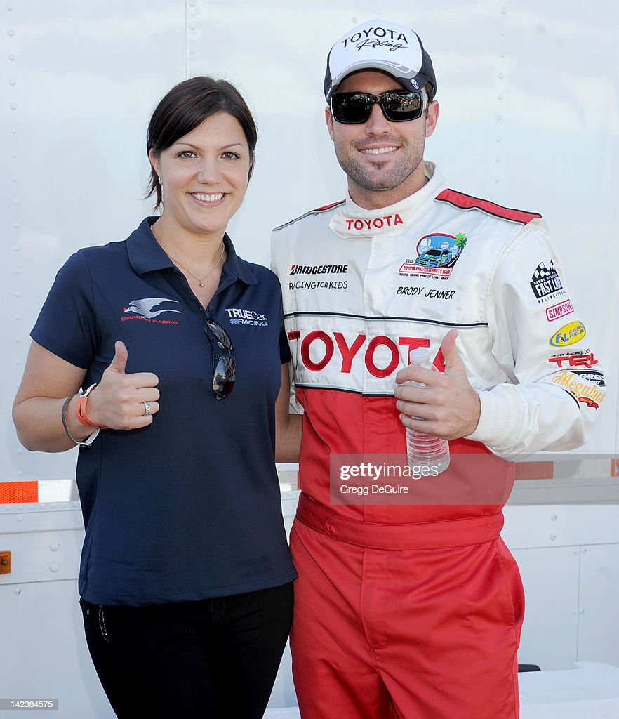 Auto racing driver Katherine Legge and actor Brody Jenner at the 36th Annual 2012 Toyota Pro/Celebrity Race - Press Practice Day on April 3, 2012 in Long Beach, California.