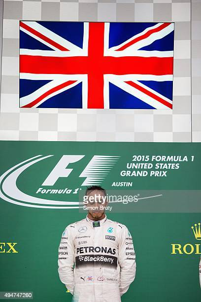 Formula 1 United States Grand Prix Lewis Hamilton of Mercedes AMG Petronas team victorious during Victory Lane celebration after winning race and...