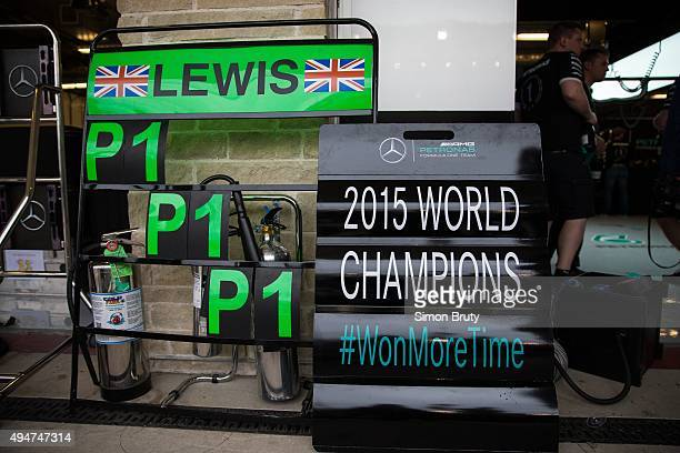 Formula 1 United States Grand Prix View of 2015 WORLD CHAMPION sign outside garage of Lewis Hamilton of Mercedes AMG Petronas team after winning race...