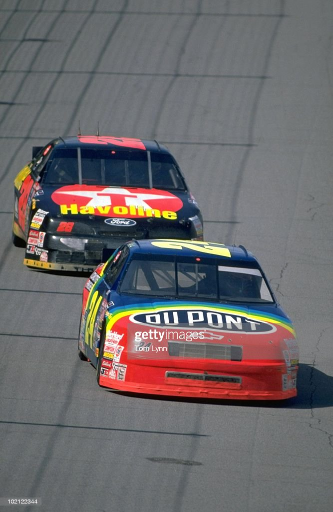 Jeff Gordon (24) in action, leading Ernie Irvan (28) during race at Indianapolis Motor Speedway. Indianapolis, IN 8/6/1994