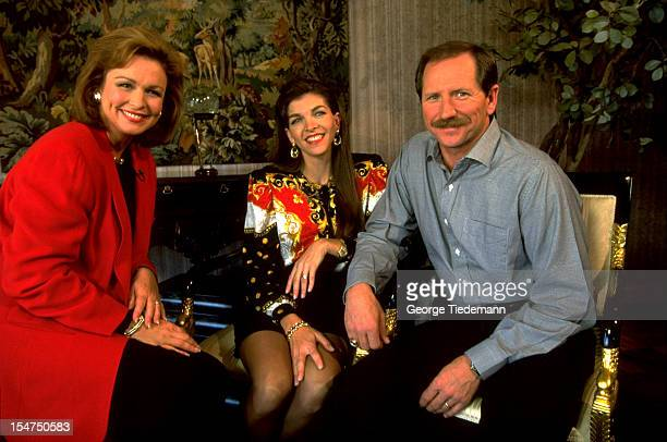 NASCAR CBS sportscaster Phyllis George Teresa Earnhardt and Dale Earnhardt before interview at his home Media Mooresville NC CREDIT George Tiedemann