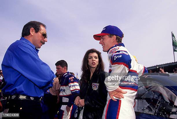 NASCAR Daytona 500 Dale Earnhardt Jr with father Dale Earnhardt Sr and mother Teresa before race at Daytona International Speedway Daytona Beach FL...