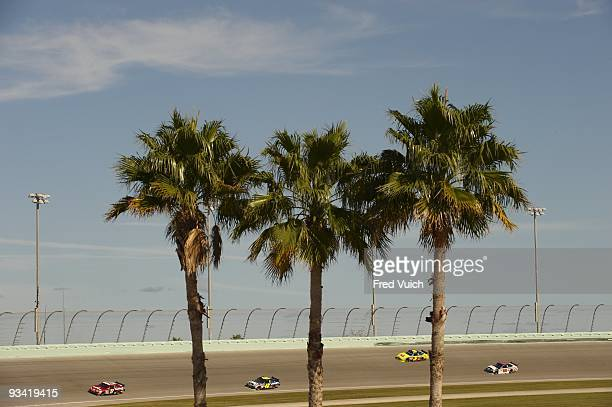 NASCAR Ford 400 Jimmie Johnson David Gilliland Mark Martin and Dale Earnhardt Jr in action during Saturday practice at Miami Speedway Homestead FL...