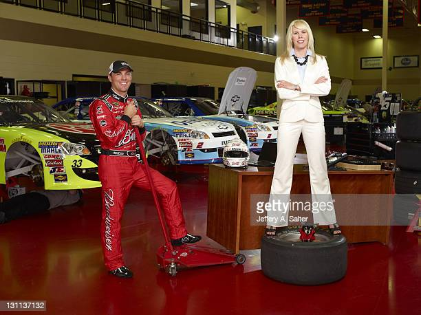 NASCAR Portrait of Kevin Harvick with wife Delana and dog Lo during photo shoot at his Kevin Harvick Inc facility Kernersville NC CREDIT Jeffery A...