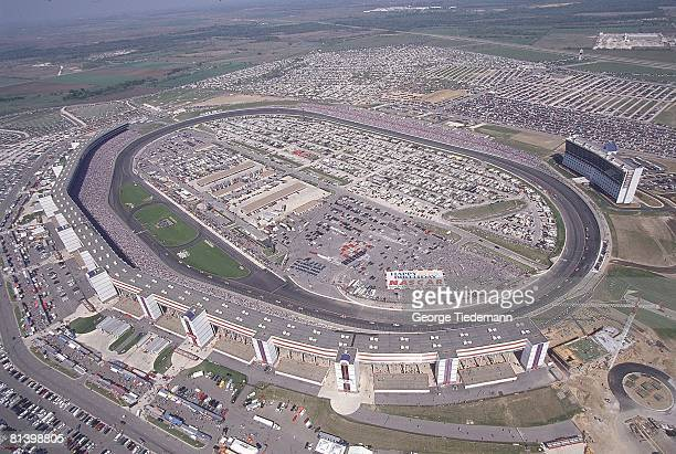 Auto Racing NASCAR Texas 500 Aerial view of Texas Motor Speedway during race Fort Worth TX 4/5/1998